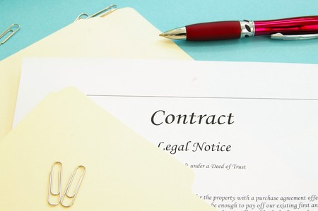 contractual: legal contract and office file folders