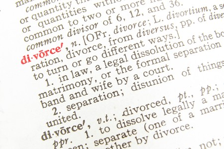 definition define: closeup of divorce dictionary definition, in red Stock Photo