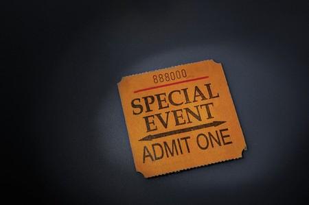 eventos especiales: c�digo auxiliar de billete de evento en punto de mira  Foto de archivo