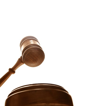 arbitrator: judges court gavel from below, on white Stock Photo