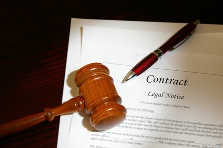 attorneys: legal gavel and contract Stock Photo