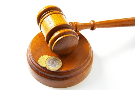 law gavel and Euro coins, on white Фото со стока - 8074973