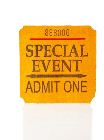 special event concert ticket stub, on white photo