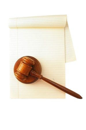 legal pad: blank legal pad and law gavel, on white
