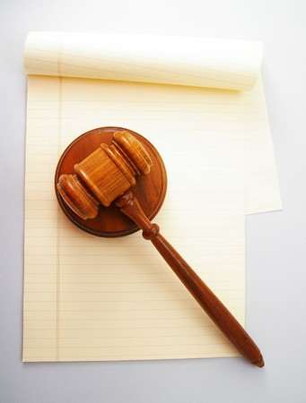 legal pad: blank legal pad and law gavel