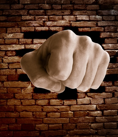 brick: fist punching thru a brick wall, grunge color