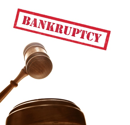 arbitrator: judges court gavel with bankruptcy text, on white Stock Photo