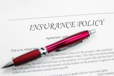 generic insurance policy with pen; could be life, auto, health etc Stock Photo - 8438892