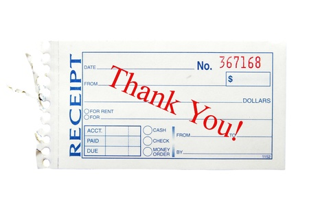 paper receipt with thank you text