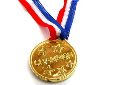 gold Champion medal with stars on white