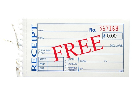generic paper receipt with Free text Фото со стока