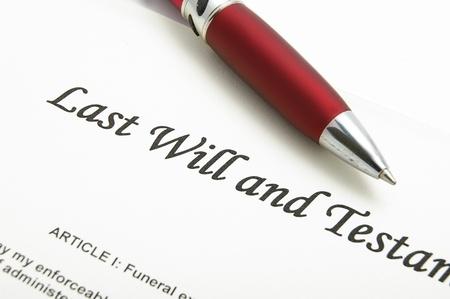 testament: detalle de un documento ser� pasado y testamento Foto de archivo