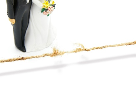 Breaking string en een bruidspaar Stockfoto