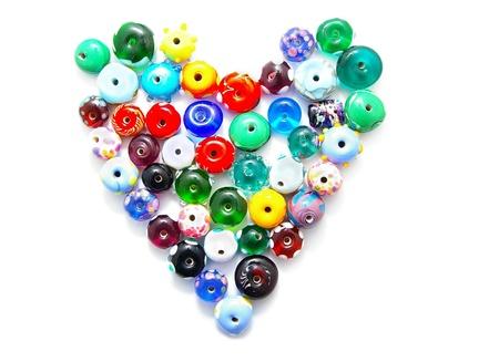 hand-made glaskralen in een hart vorm
