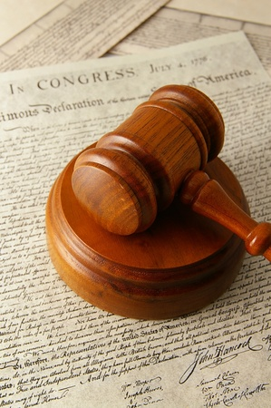 legal gavel and the Declaration of Independence photo