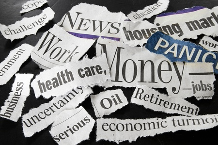 clippings: recortes de titulares de prensa mostrando malas noticias
