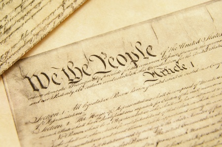 Closeup of a replica of U.S. Constitution document photo