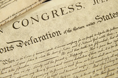 Replica of the U.S. Declaration of Independence, closeup Stock Photo - 9149650