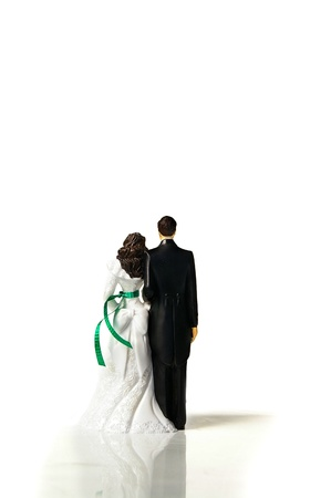 topper: plastic cake-topper wedding couple from the back, on white