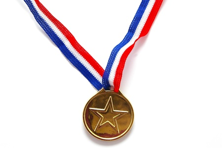gold medal with star shape, on white