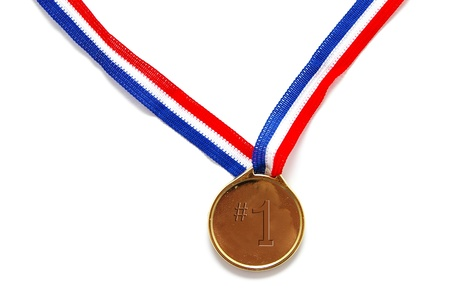 blank gold medal with number one text on white
