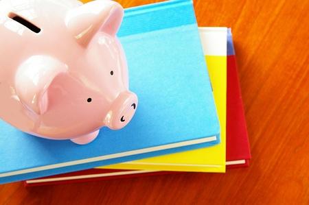 Piggy bank op een stapel boeken