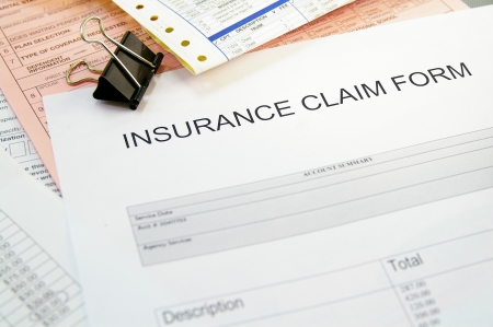 Health-insurance claim form and medical bills