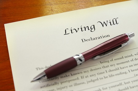 will: A Living Will document closeup with pen