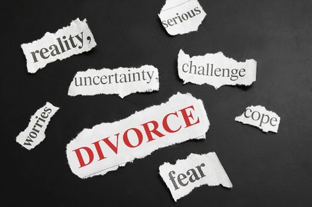 uncertainty: Various newspaper headlines with Divorce in red