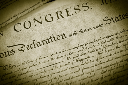 Replica of the U.S. Declaration of Independence, closeup Stock Photo - 9670602
