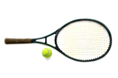 raquet: Tennis racket and ball, on white background