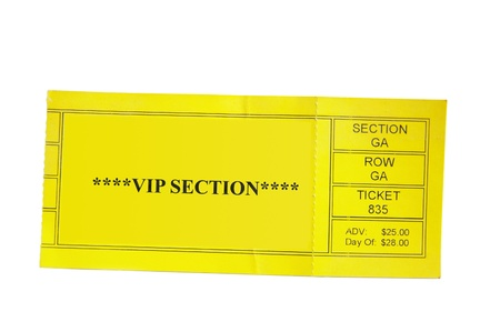 yellow Special Event ticket stub isolated on white background photo