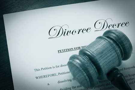 decree: Divorce Decree document and legal gavel