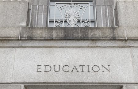 school campus: Exterior of a building with Education engraved in stone Stock Photo