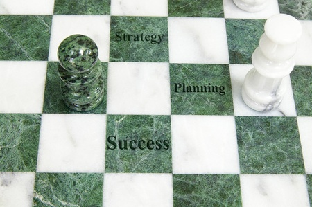 Chess board with Success, Planning and Strategy text