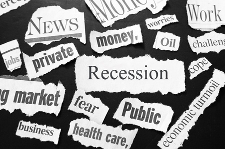 ripped: newspaper headlines showing bad news, recession related Stock Photo