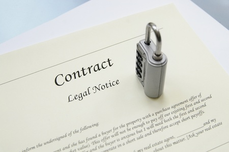 combination: Legal contract document and a combination lock