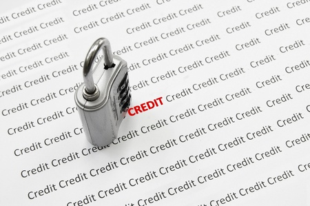 Combination lock and Credit text Stock Photo - 10101666