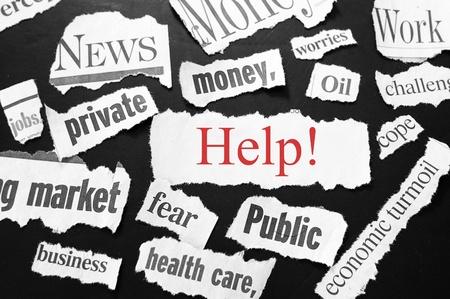newspaper headlines showing bad news, help in red photo
