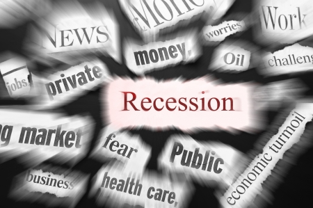 bad economy: newspaper headlines showing bad news, recession related Stock Photo