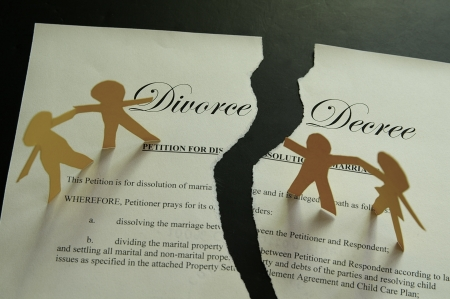 decree: divorce decree document and paper family figures Stock Photo