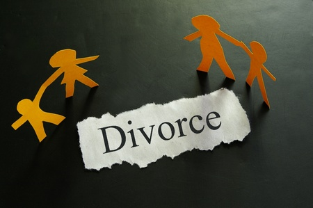torn piece of paper with divorce text and paper family figures photo