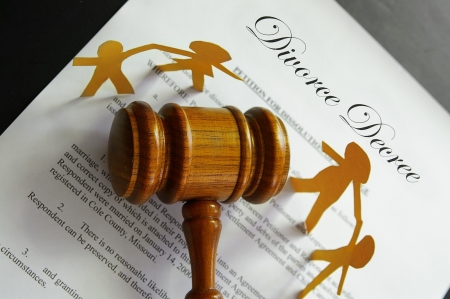 divorce papers and gavel with paper family Stock Photo - 10180322