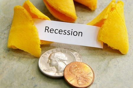bad fortune: fortune cookie with Recession message and coins