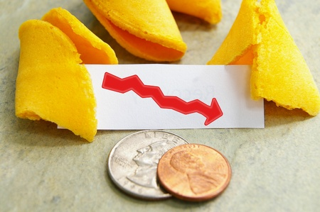 fortune cookie with downward pointing red arrow Stock Photo - 10535405