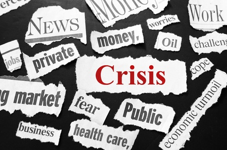 newspaper headlines showing bad news, Crisis in red photo
