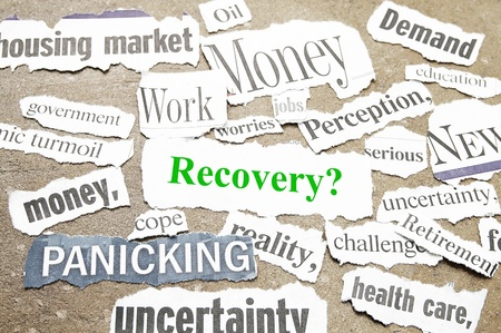 bad economy: News paper headlines showing bad news and Recovery question.