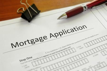 Close-up van een blanco hypotheek aanvraagformulier
