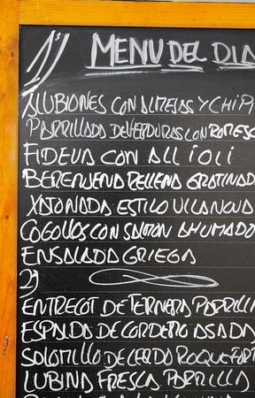 An outdoor tapas menu in Barcelona Spain Reklamní fotografie