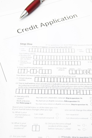 a blank credit application form photo
